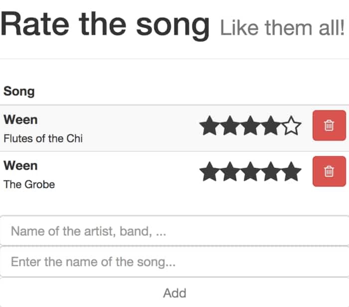 Song-Rate: CRUD UI  Uses lodash, localstorage, underscore