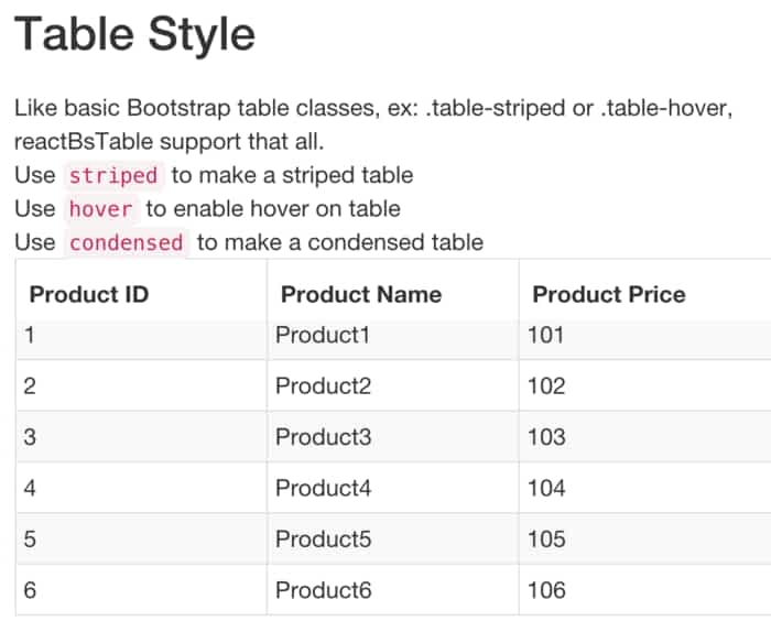 react-bootstrap-table - ReactJS Example