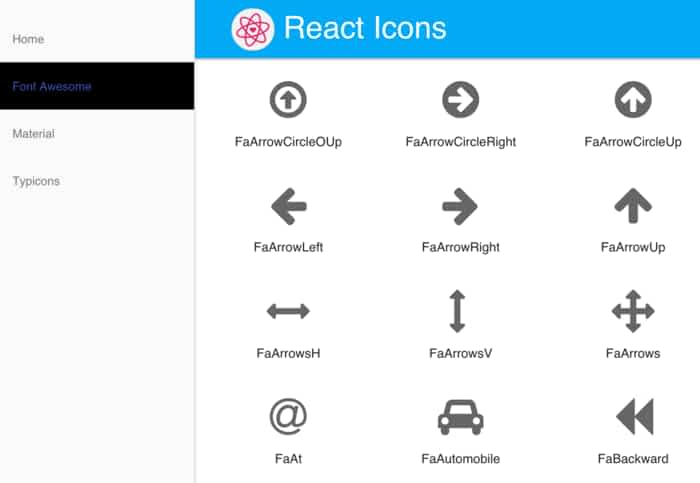 react-icons: SVG icons from Font Awesome, Google Material