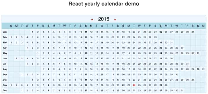 ReactYearlyCalendar  Reactjs Example