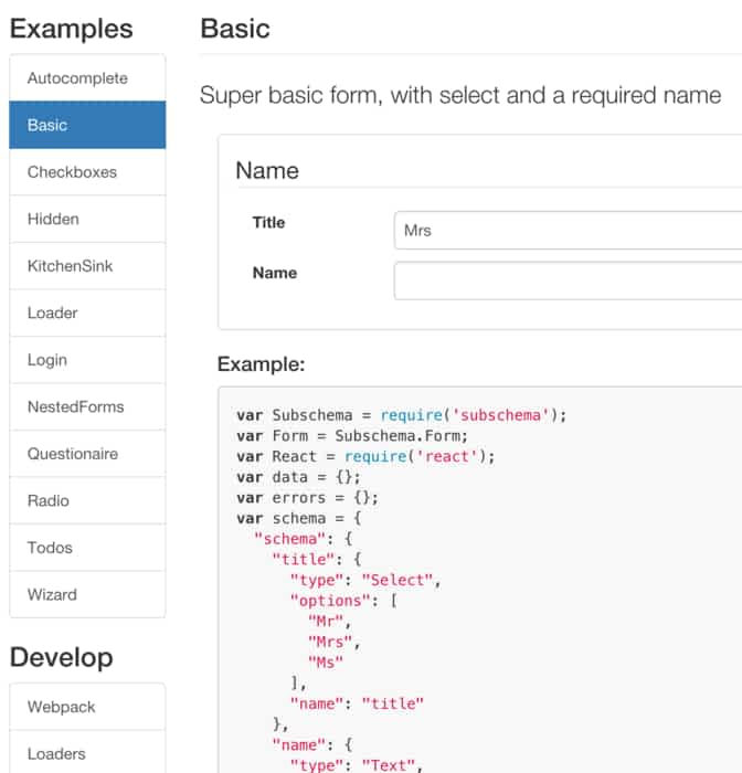 Form Examples With Reactjs